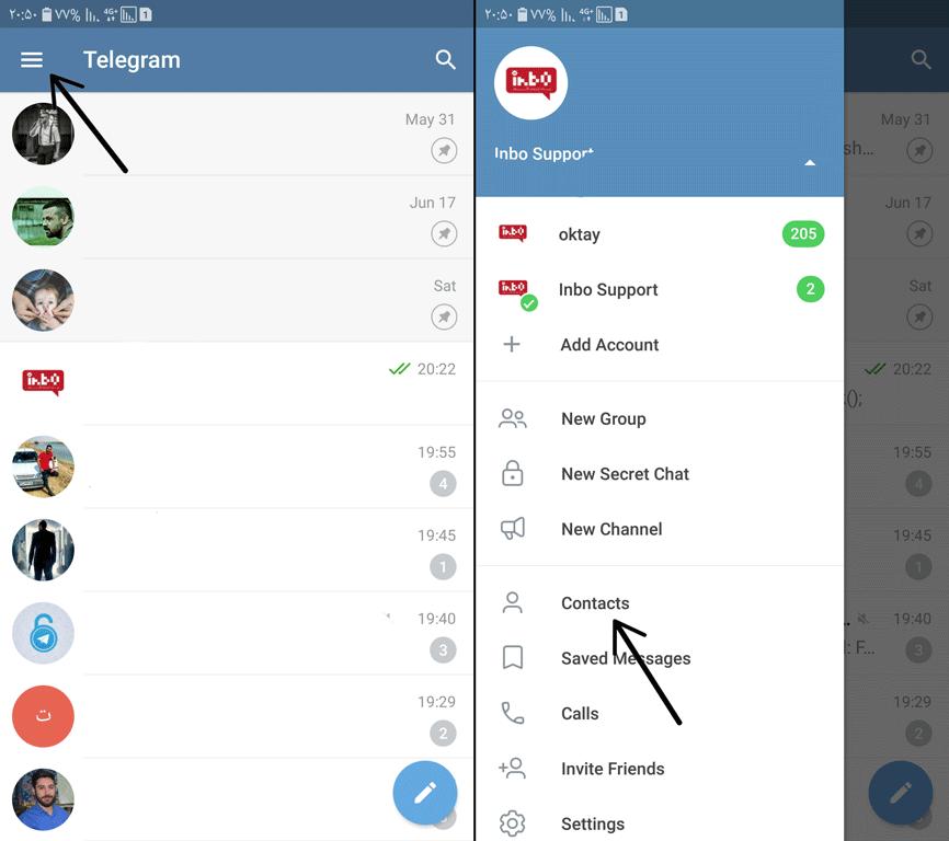 حذف كردن مخاطب در تلگرام