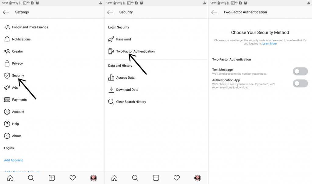 فعالسازی رمز دوم پیج در اینستاگرام