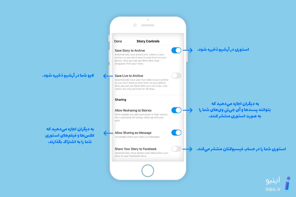 بررسی گزینههای تنظیمات استوری اینستاگرام